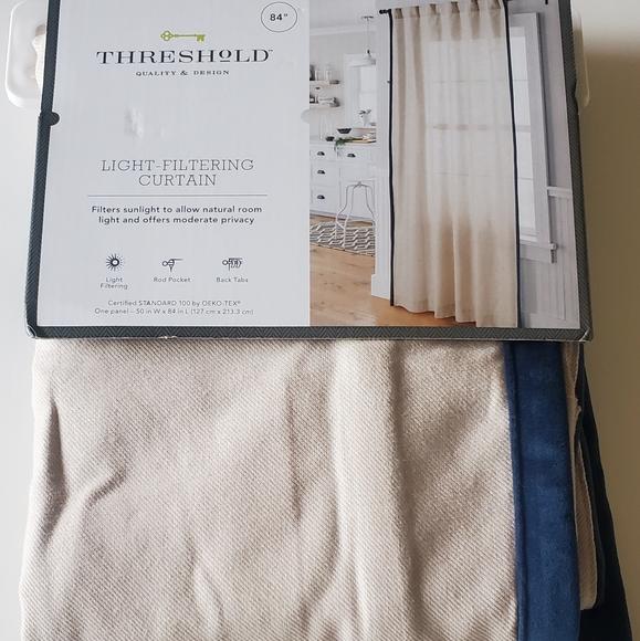 Light Filtering Curtain Panel-Velvet trim